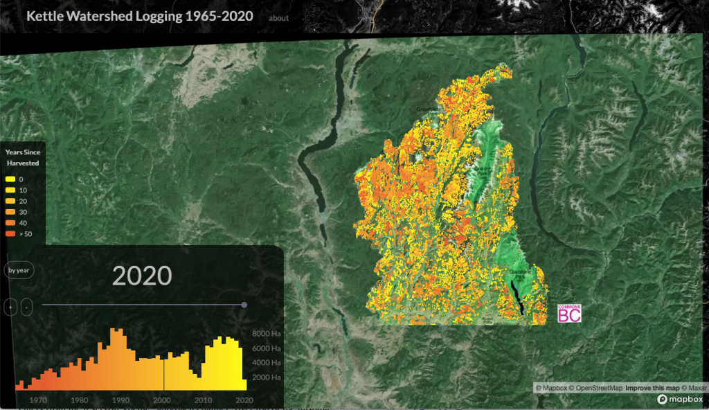 Map tool showing Kettle Valley logging over time